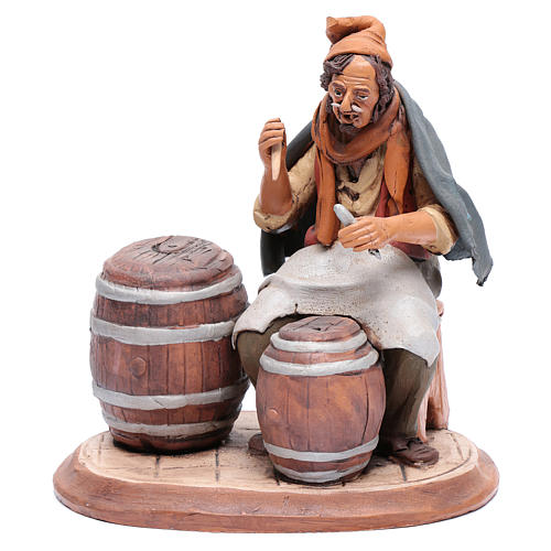 Uomo aggiusta botti terracotta per presepe Deruta 30 cm 1