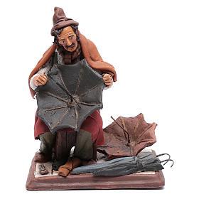 Presépio Terracota Deruta: Reparador de chapéus-de-chuva em terracota para presépio Deruta 30 cm
