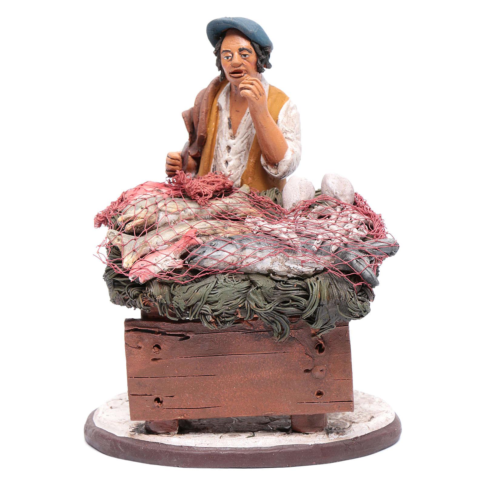 venditore pesce in terracotta presepe Deruta 18 cm 4