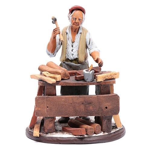 Vendeur chaises en terre cuite pour crèche Deruta 18 cm 1