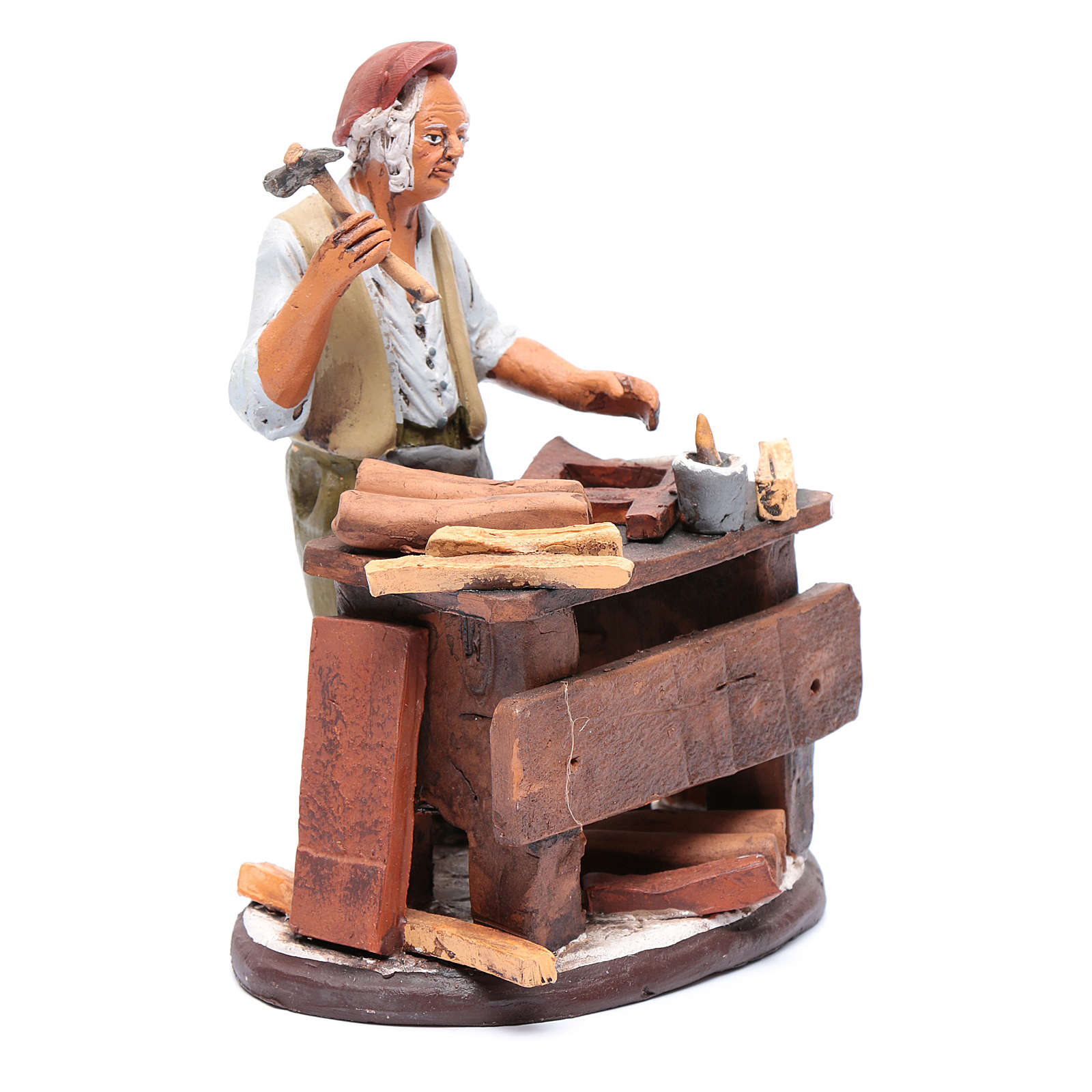 Venditore seggiole in terracotta presepe Deruta 18 cm 4