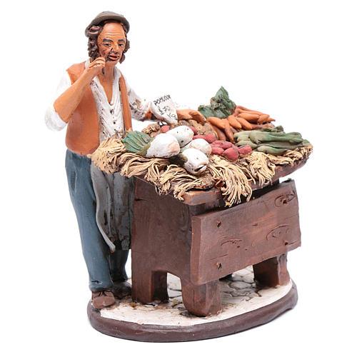 Venditore ortaggi in terracotta per presepe Deruta 18 cm 4