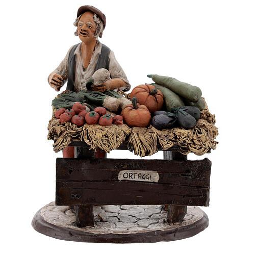 Venditore ortaggi in terracotta per presepe Deruta 18 cm 1