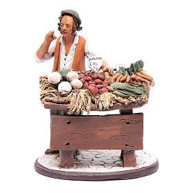 Presépio Terracota Deruta: Vendedor legumes em terracota presépio Deruta 18 cm