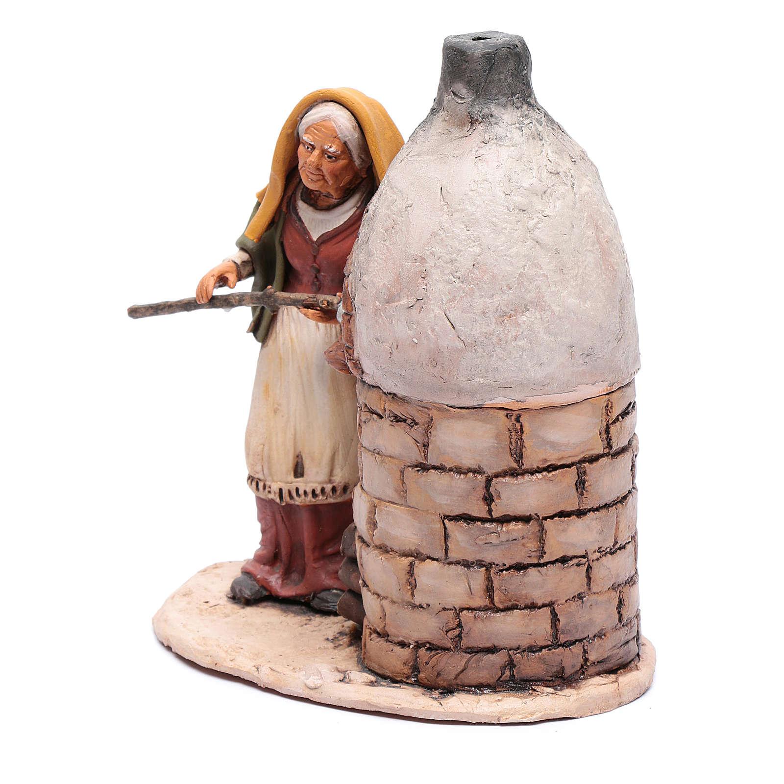 Donna al forno in terracotta per presepe Deruta 18 cm 4