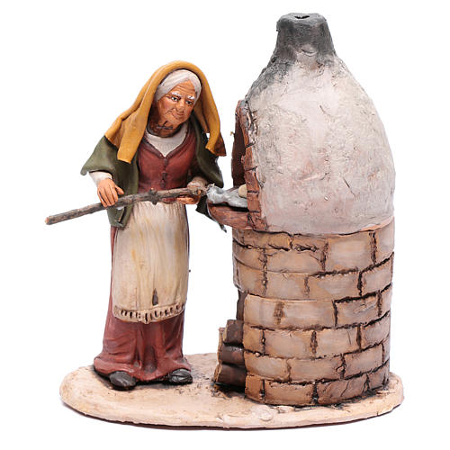 Donna al forno in terracotta per presepe Deruta 18 cm 1