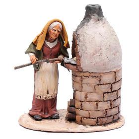 Presépio Terracota Deruta: Mulher ao forno em terracota para presépio de Deruta com figuras de  18 cm altura média