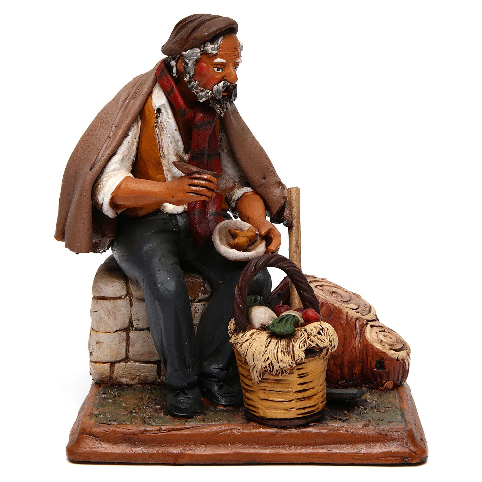 Contadino seduto con zappa presepe Deruta 30 cm terracotta 4