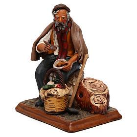 Contadino seduto con zappa presepe Deruta 30 cm terracotta s3