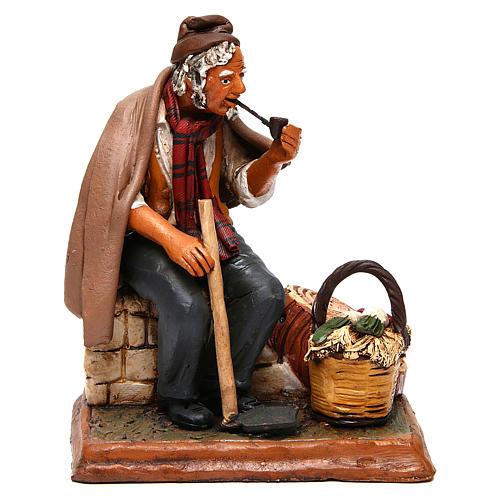 Contadino seduto con zappa presepe Deruta 30 cm terracotta 6