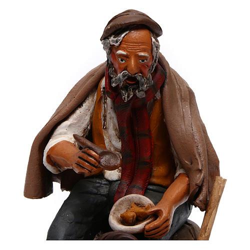 Contadino seduto con zappa presepe Deruta 30 cm terracotta 2