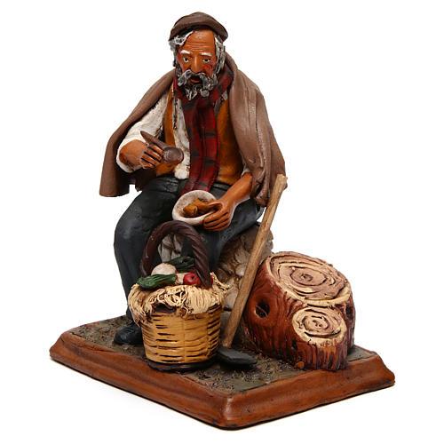 Contadino seduto con zappa presepe Deruta 30 cm terracotta 3