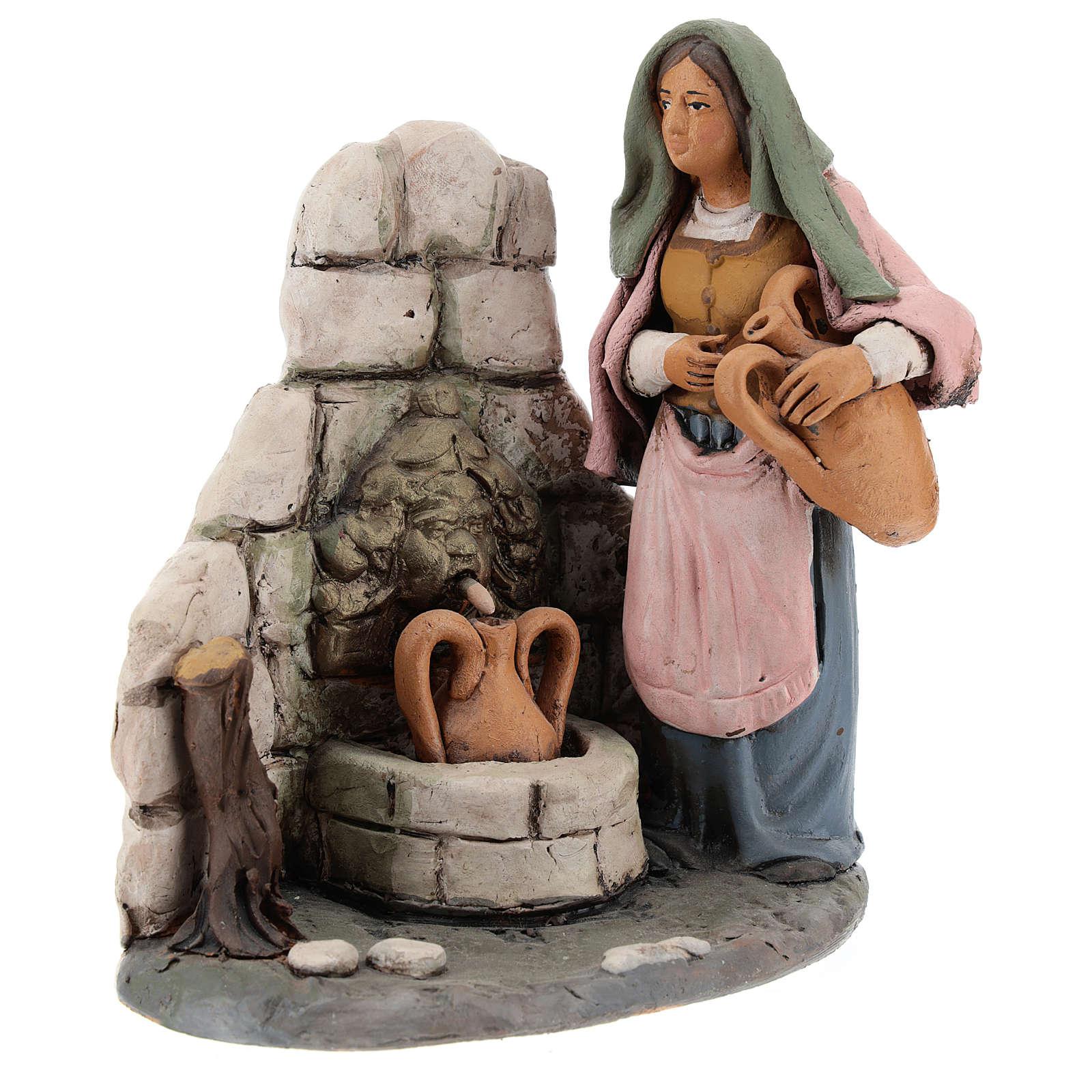Woman at the fountain 18cm Deruta 4