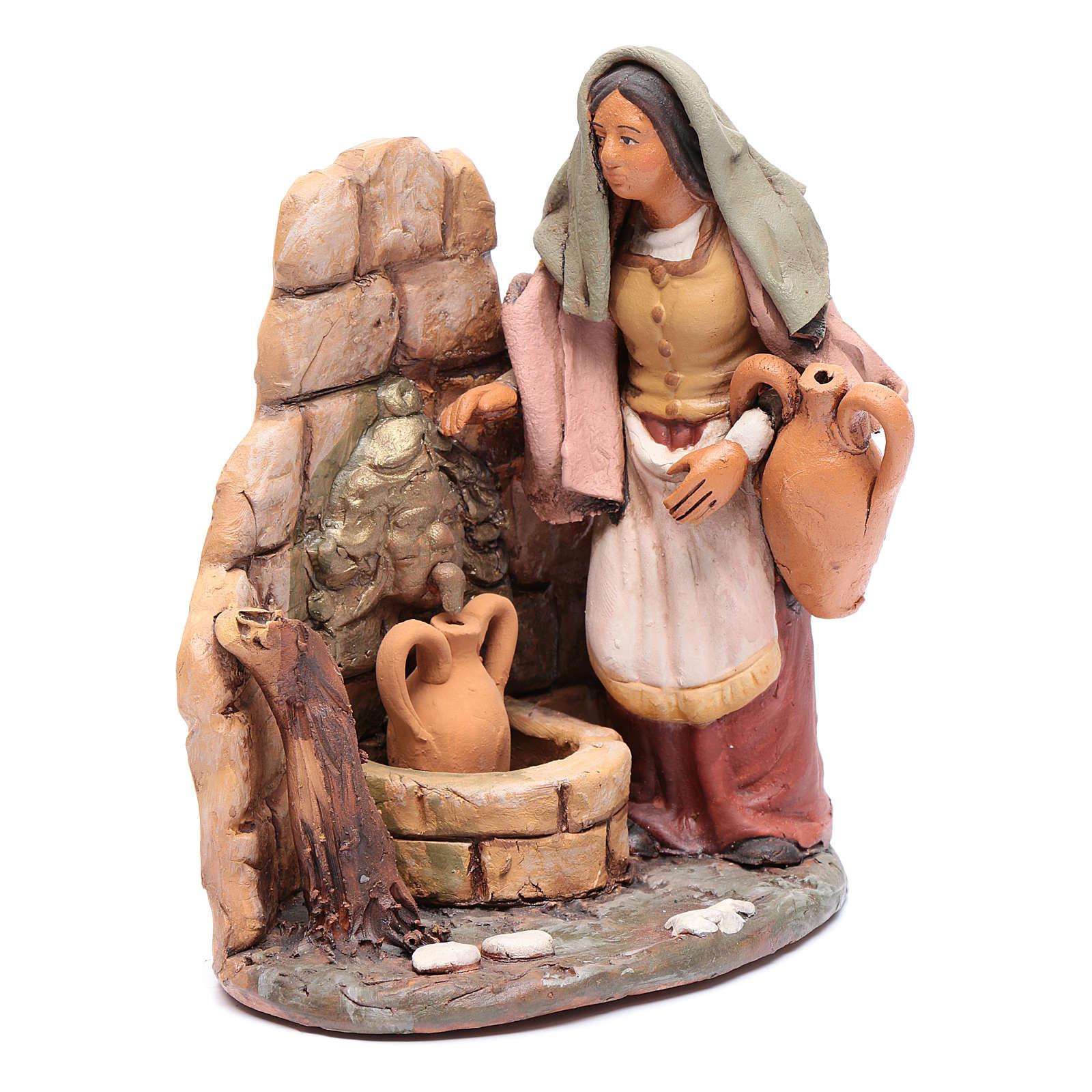 Femme au puits crèche Deruta 18 cm terre cuite 4
