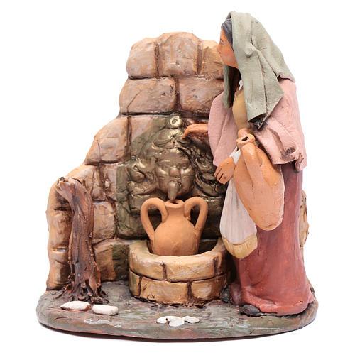 Femme au puits crèche Deruta 18 cm terre cuite 1
