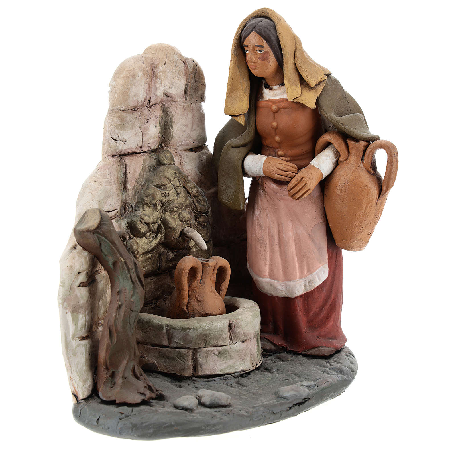 Donna alla fonte presepe  Deruta 18 cm in terracotta 4