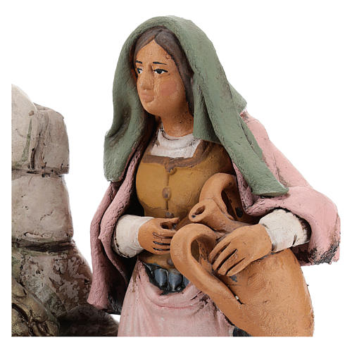 Donna alla fonte presepe  Deruta 18 cm in terracotta 2
