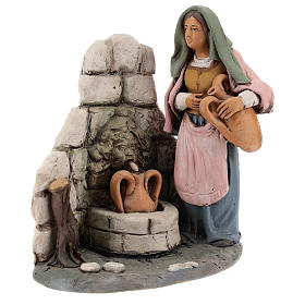 Presépio Terracota Deruta: Mulher à fonte presépio Deruta 18 cm em terracota