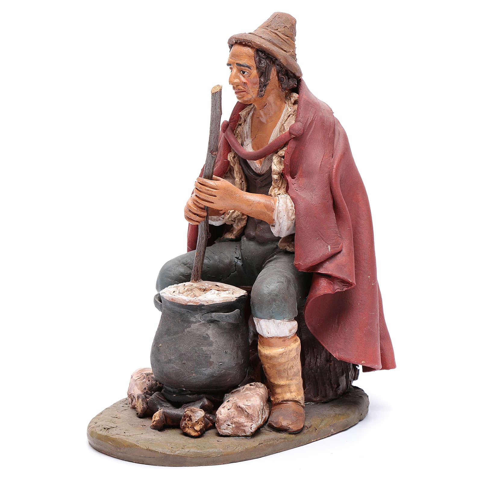 Pastore con ricotta presepe Deruta 30 cm terracotta 4