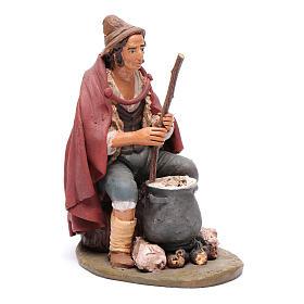 Pastore con ricotta presepe Deruta 30 cm terracotta s4