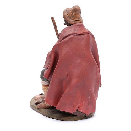 Pastore con ricotta presepe Deruta 30 cm terracotta 3