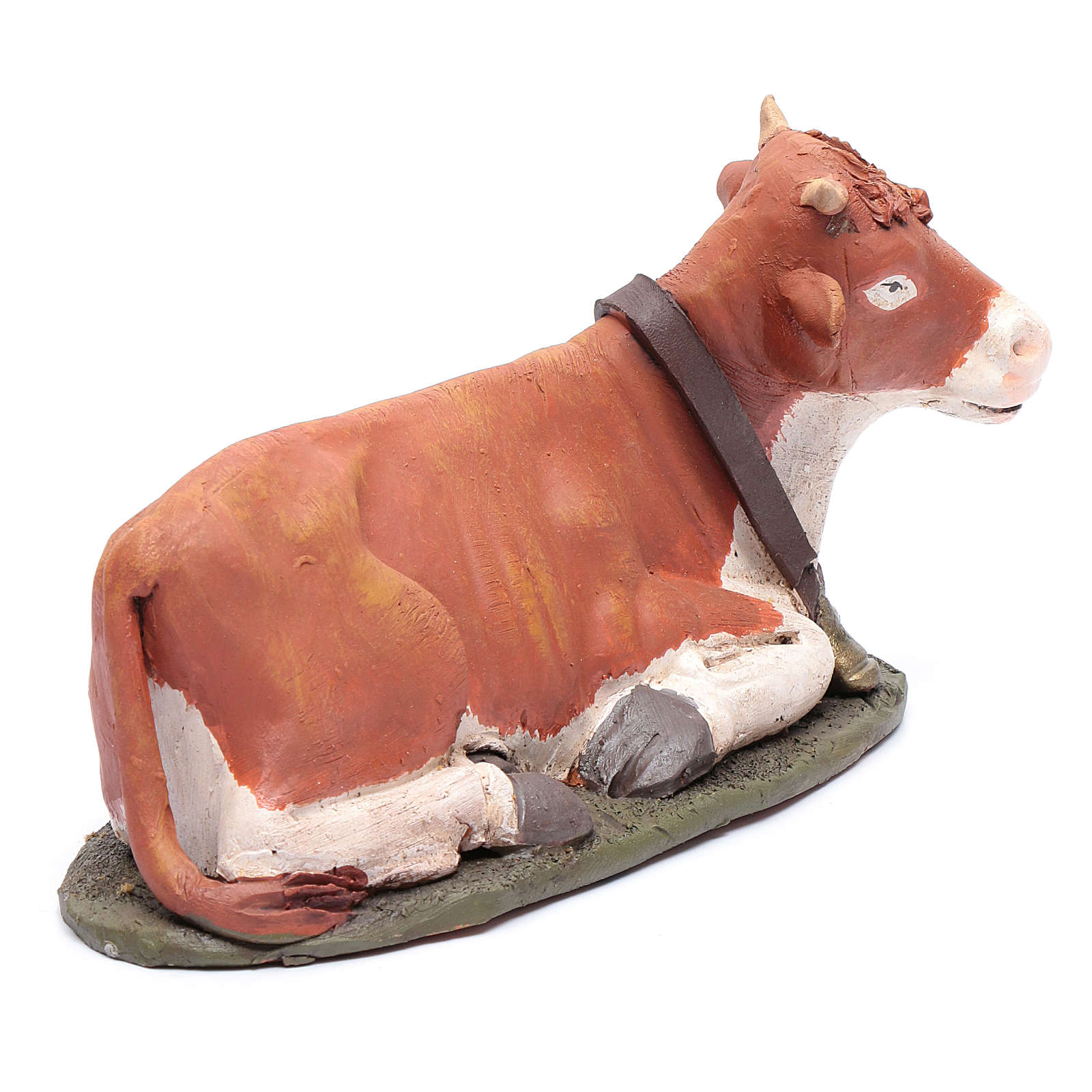 Bue in terracotta colorata per presepe Deruta 30 cm 4