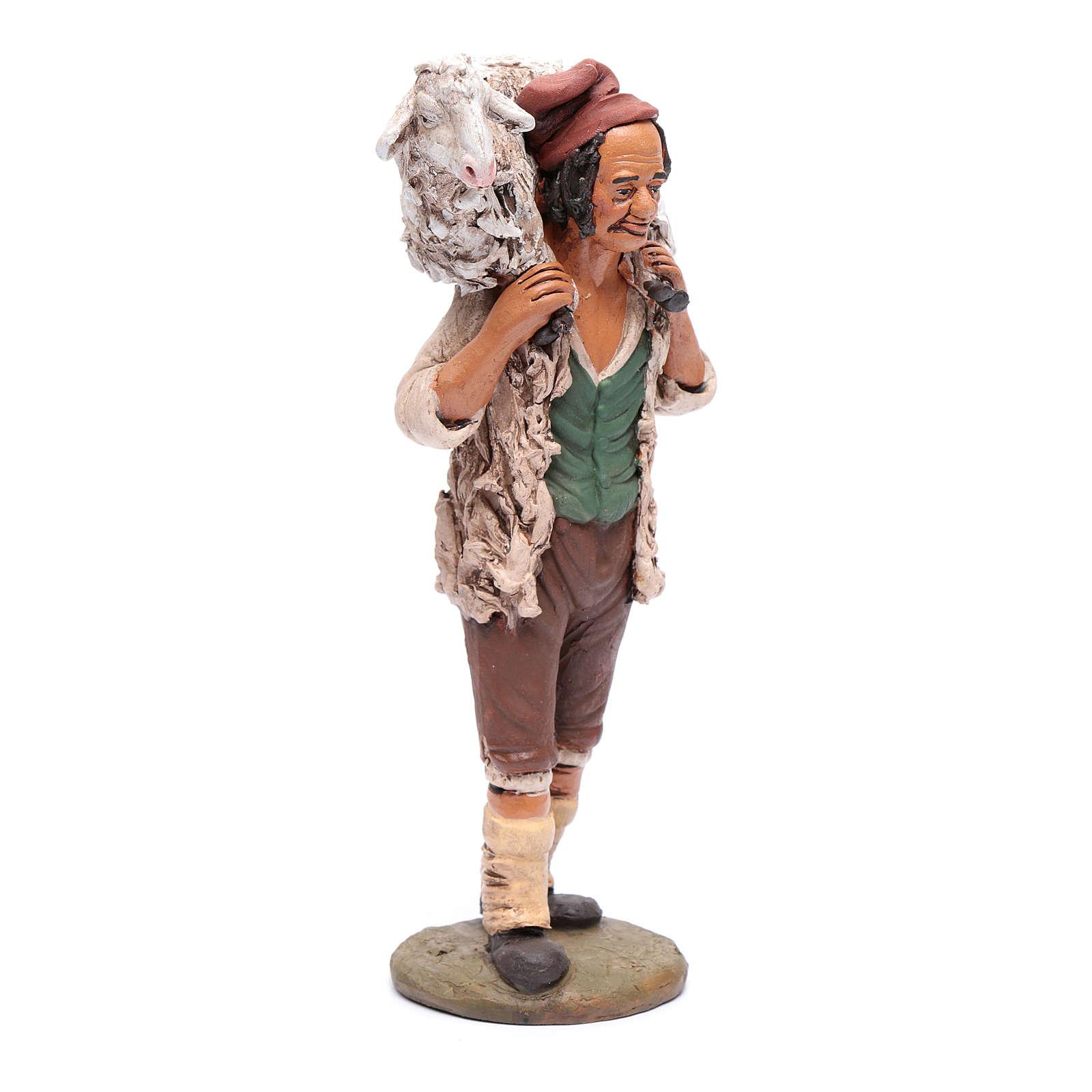 Buon Pastore presepe Deruta 30 cm terracotta 4