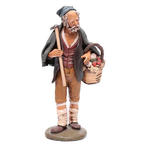 Agriculteur avec panier et pioche crèche Deruta 30 cm 1