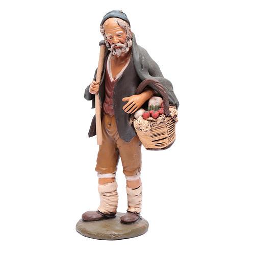 Agriculteur avec panier et pioche crèche Deruta 30 cm 2
