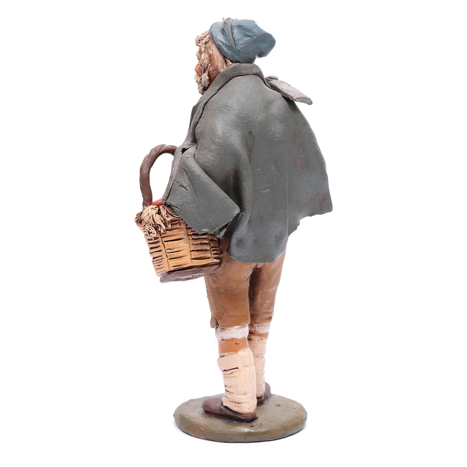 Contadino con cesta e zappa presepe Deruta 30 cm in terracotta 4