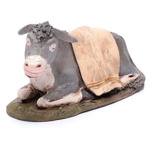 Burro decorado belén Deruta 30 cm de terracota 4