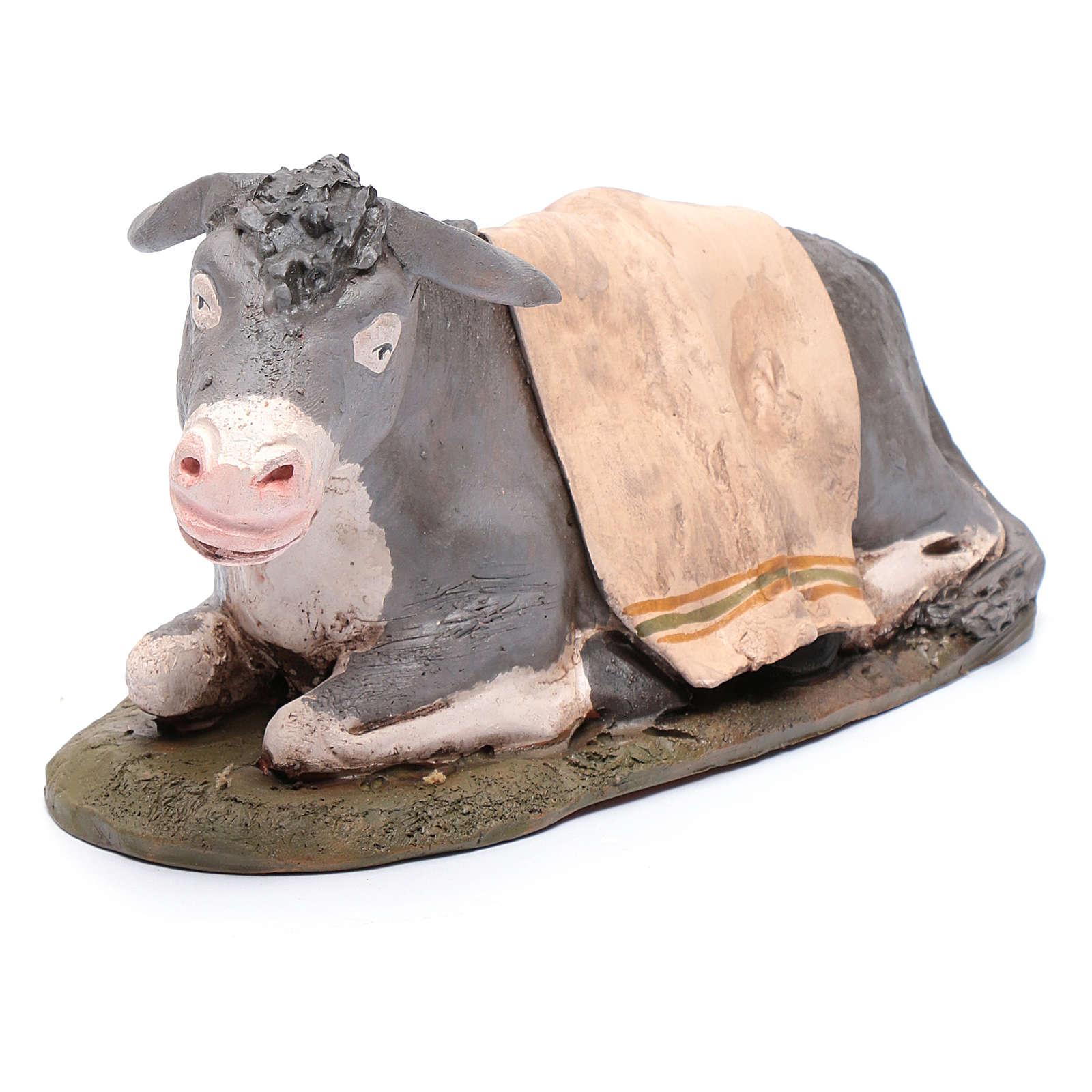 Âne décoré crèche Deruta 30 cm terre cuite 4