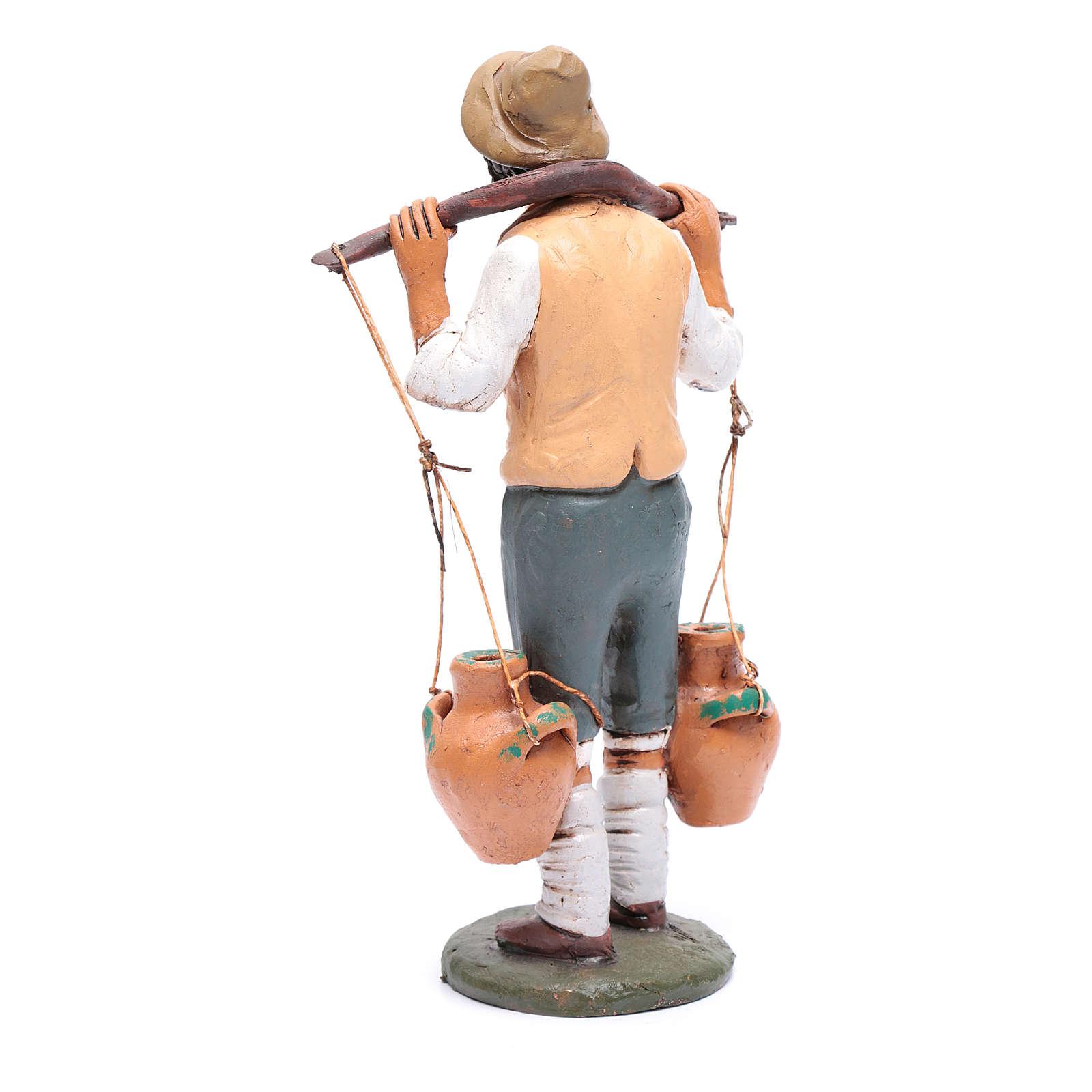 Uomo porta acqua presepe Deruta 30 cm in terracotta 4