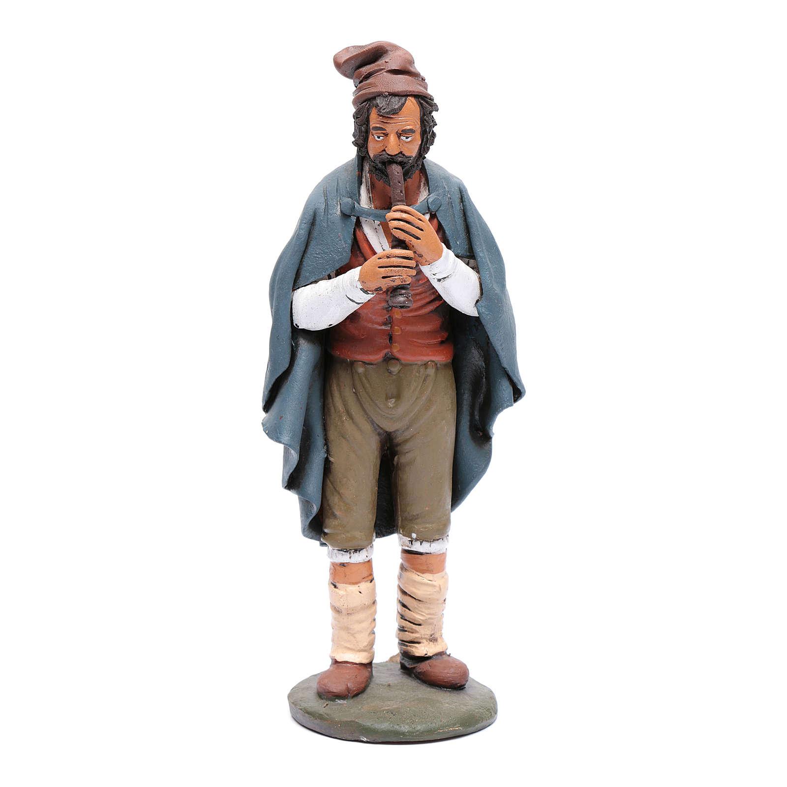Pifferaio decorato presepe Deruta 30 cm terracotta 4