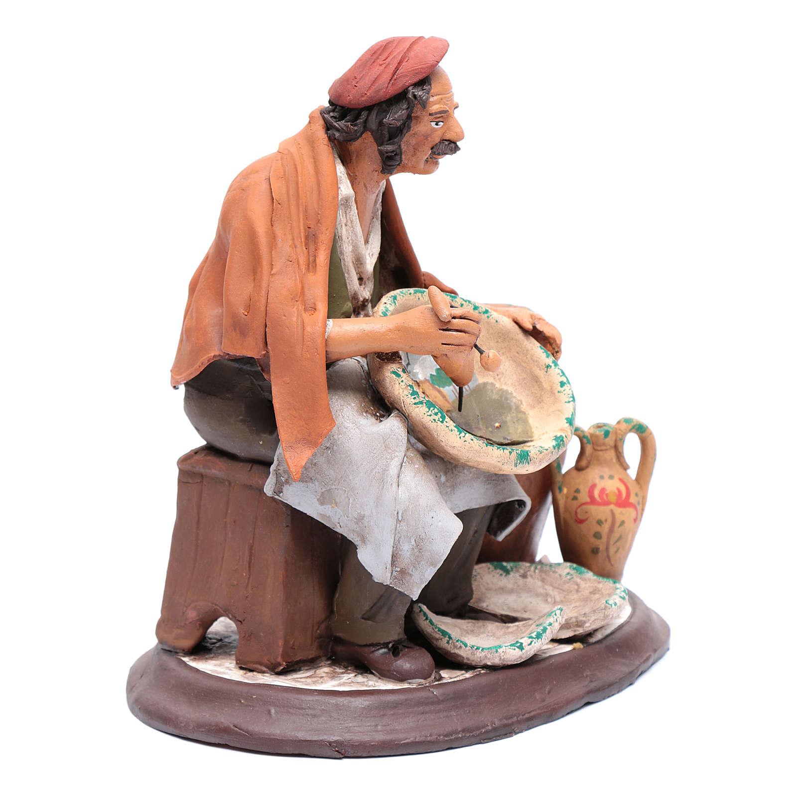 Pittore seduto per presepe 30 cm in terracotta 4