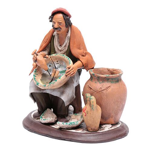 Pittore seduto per presepe 30 cm in terracotta 2