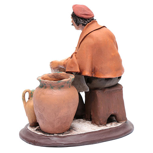 Pittore seduto per presepe 30 cm in terracotta 3