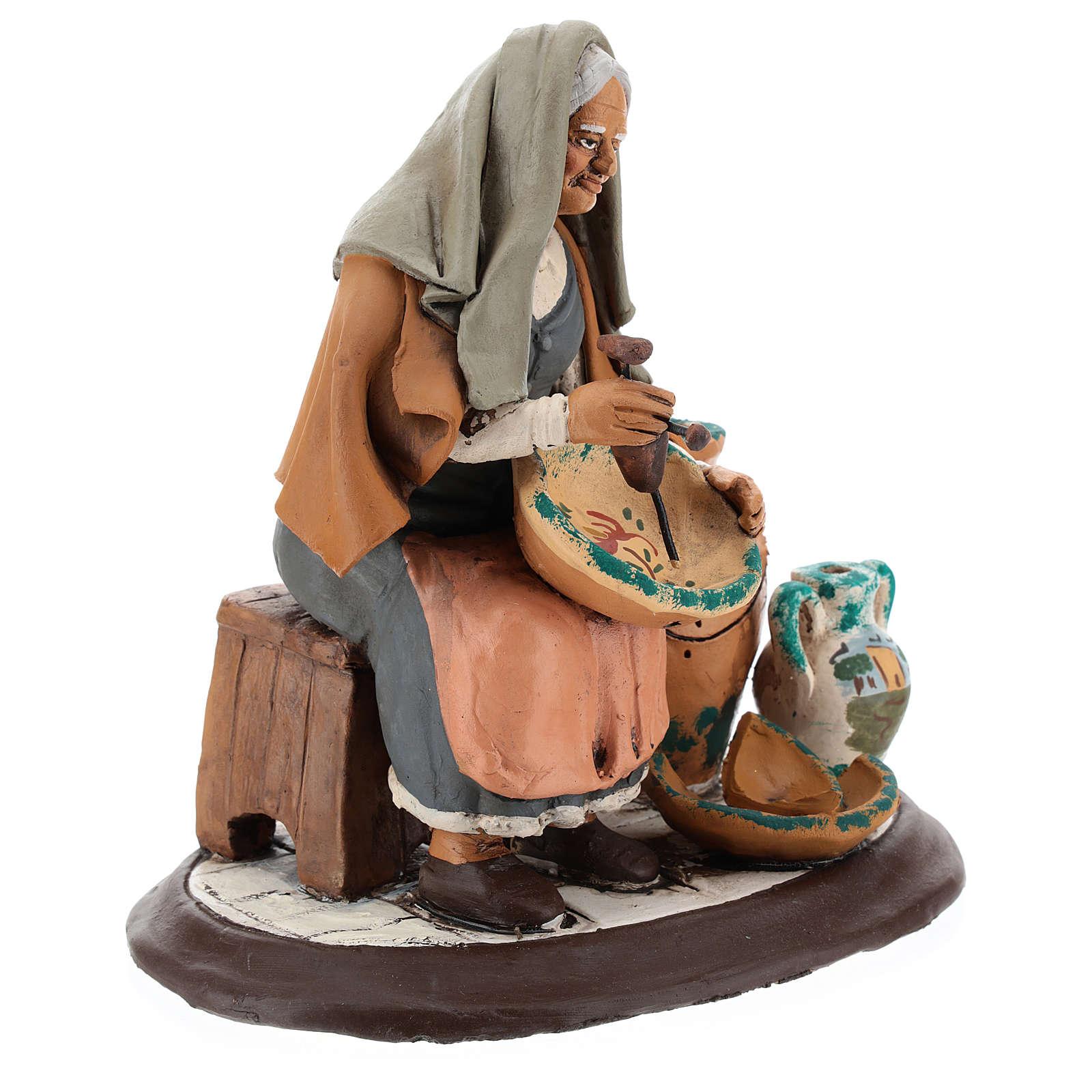 Pittrice per presepe 30 cm terracotta decorata Deruta 4