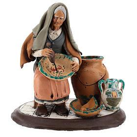 Pittrice per presepe 30 cm terracotta decorata Deruta s1