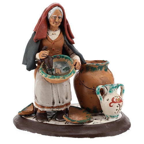 Pittrice per presepe 30 cm terracotta decorata Deruta 6