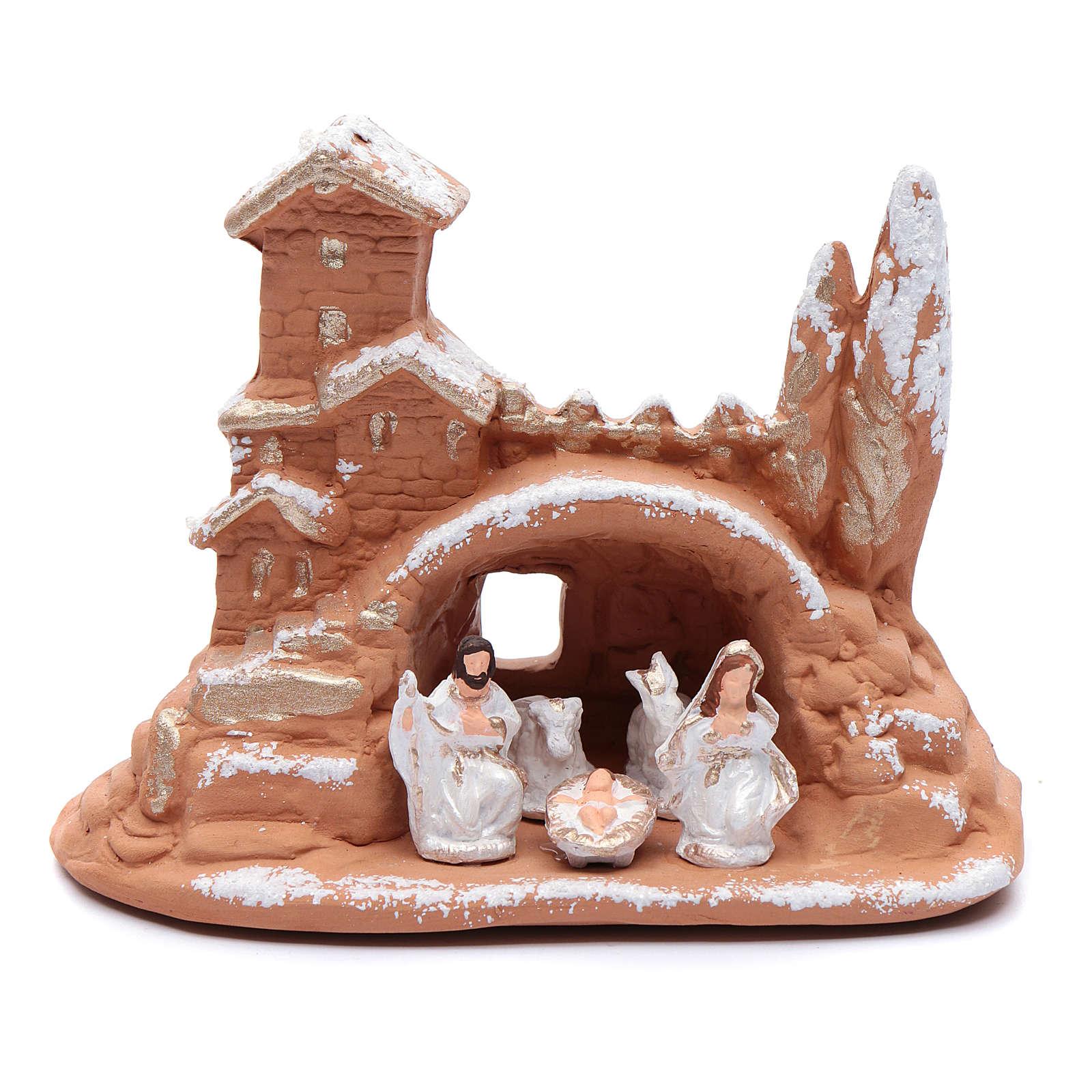 Capanna in terracotta h. 11 cm con neve Deruta 4