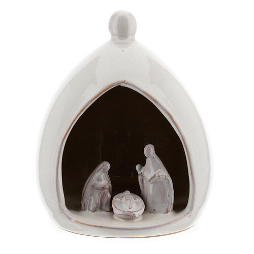 White Holy Family in drop stable 15 cm Deruta terracotta 1
