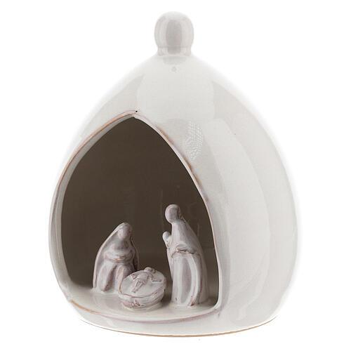 Capanna goccia bianca Natività 15 cm terracotta Deruta 2