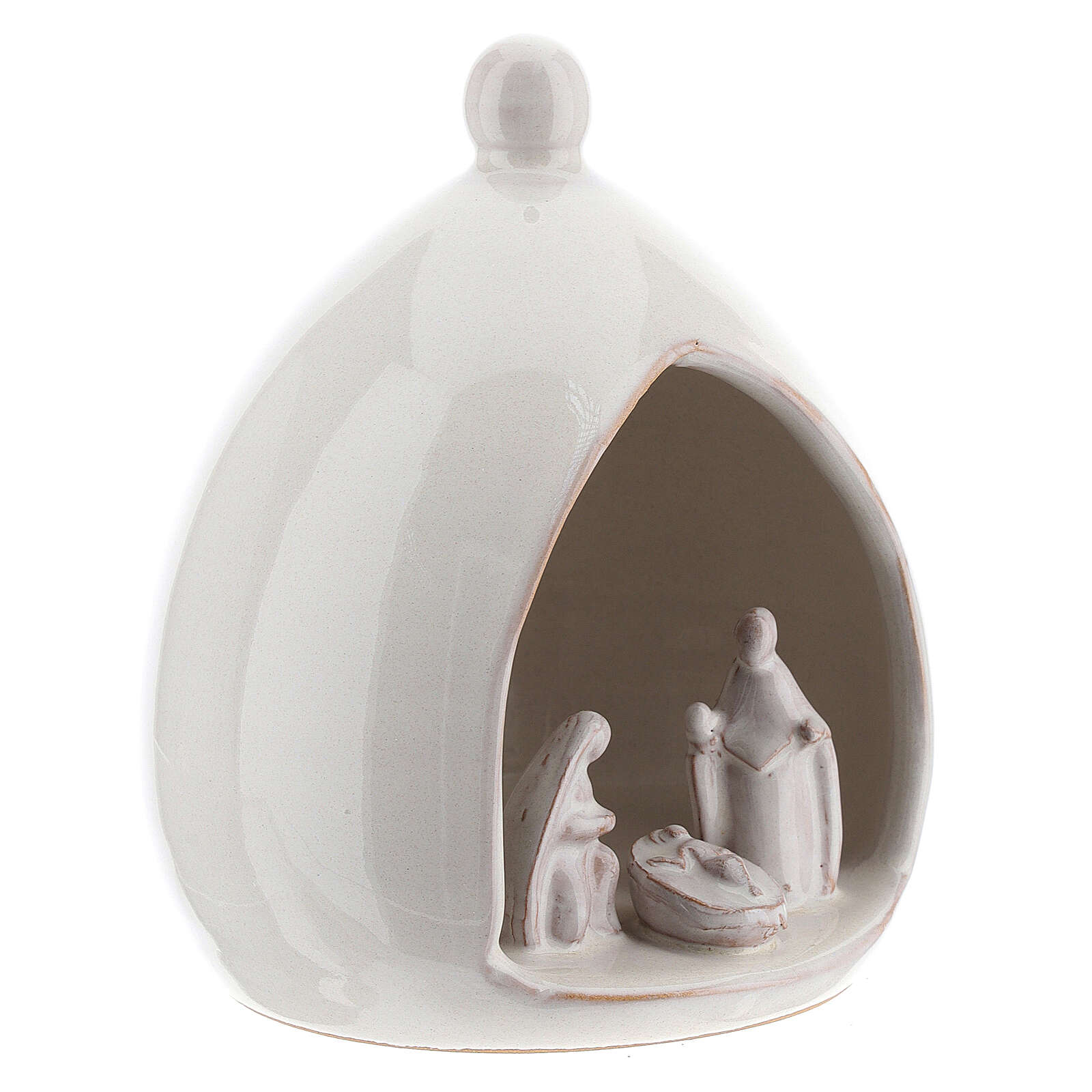Drop stable with white Holy Family set 15 cm Deruta terracotta 4