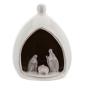 Drop stable with white Holy Family set 15 cm Deruta terracotta s1