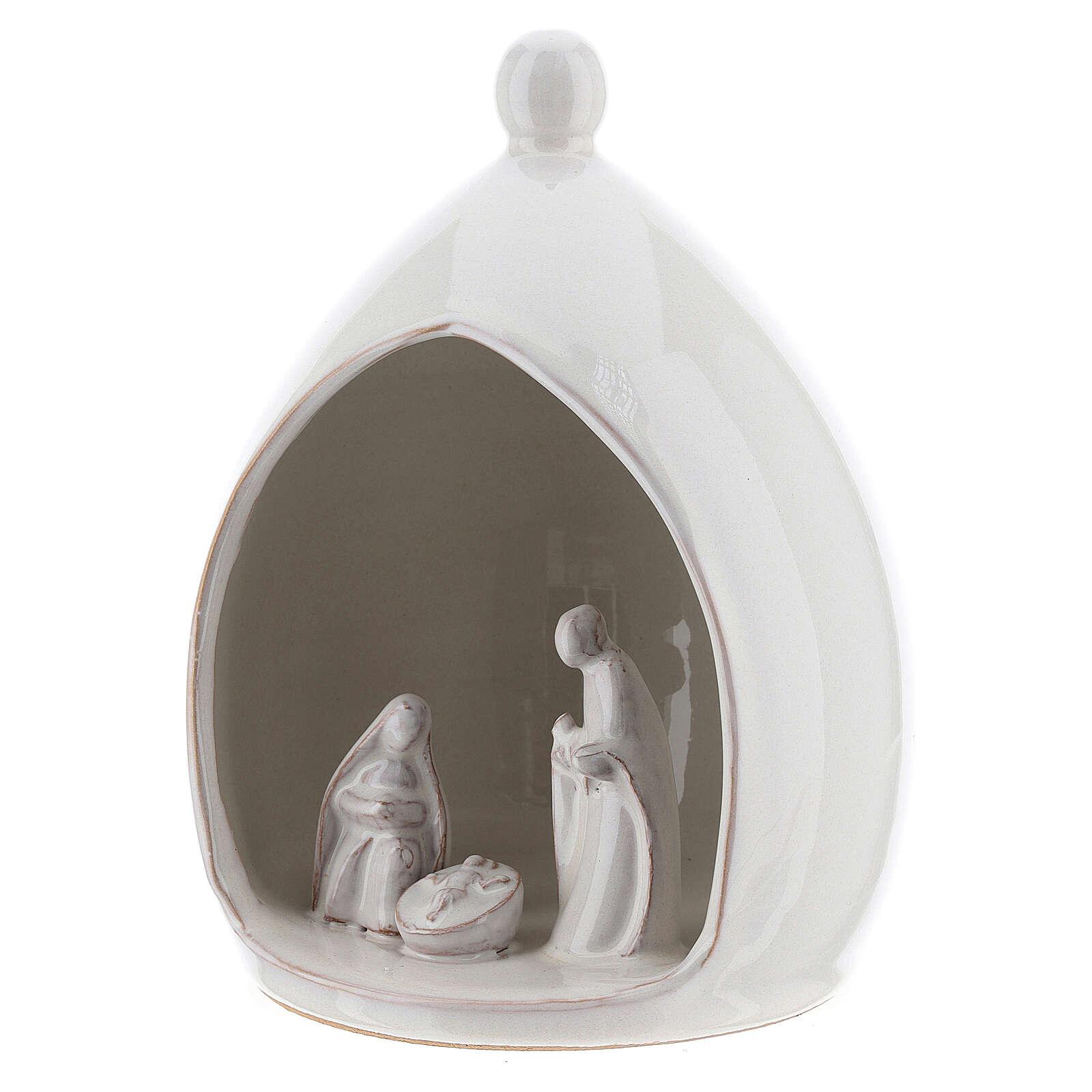 White Holy Family in modern style stable 18 cm Deruta terracotta 4