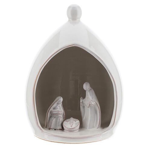 White Holy Family in modern style stable 18 cm Deruta terracotta 1