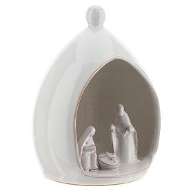 Modern stable with white ceramic Sacred Family set 18 cm Deruta s3