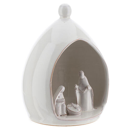 Modern stable with white ceramic Sacred Family set 18 cm Deruta 3
