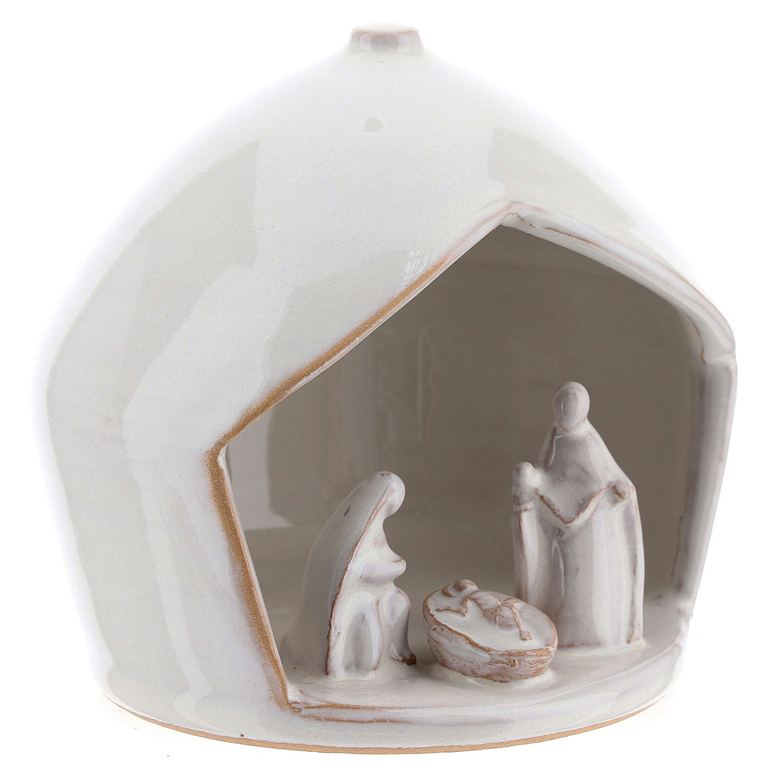 White modern Holy Family set in terracotta with stable 12x11 cm 4